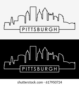 Pittsburgh skyline. Linear style. Editable vector file.