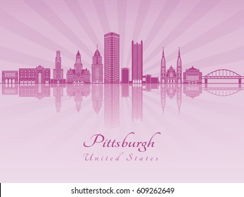 Pittsburgh skyline in purple radiant orchid in editable vector file
