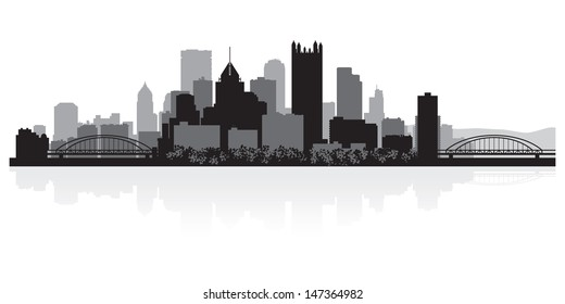 Pittsburgh USA city skyline silhouette vector illustration