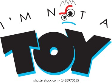 PIXAR Toy story 4 movie FORKY Spork VECTOR NOT A TOY BLACK FONT