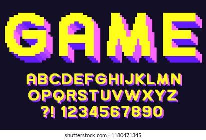 Pixel 3d retro font Video computer game design 8 bit letters and numbers Vector alphabet