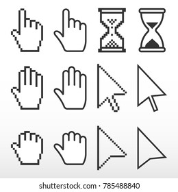 Pixel 3d and smooth cursors icons mouse. Hand, arrow, hourglass.