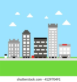 Pixel 8 bit cartoon illustration of grey different city buildings with windows and grass and blue sky with white clouds/ vector eps 10
