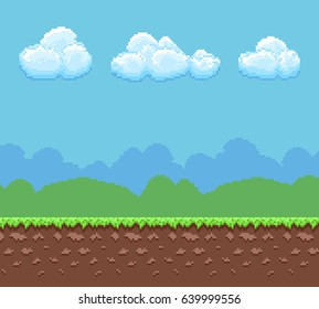 Pixel 8bit game vector background with ground and cloudy sky panorama