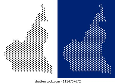 Pixel African Cameroon map. Vector geographic map on white and blue backgrounds. Vector mosaic of African Cameroon map organized with round dots.
