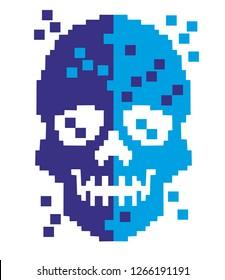 Pixel aggressive emblem with skull,design t shirts