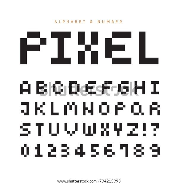 Pixel Alphabet Letters Number Set Modern Stock Vector