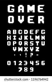 Pixel alphabet, numbers and punctuation marks. Font of the 80s.