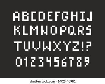 Pixel alphabet in retro 8 bit style. Vintage computers letters. Vector font ilustration.