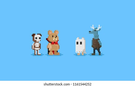Pixel animal in halloween costume.8bit character.