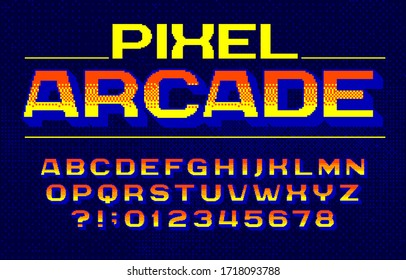 Pixel Arcade alphabet font. Digital gradient letters and numbers. Pixel background. 80s arcade video game typescript.