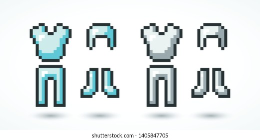 Pixel armor icons, symbols with shadow. Elements games, web, ui. Gaming arsenal. Vector illustration. EPS 10