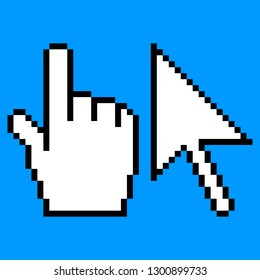Pixel arrow and hand cursor icon created in flat style. Pixeleted shape isolated in blue background. Sign for computer interface saved as a vector illustration in the EPS file format.