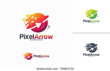 Pixel Arrow logo designs concept vector, Arrow technology logo designs template