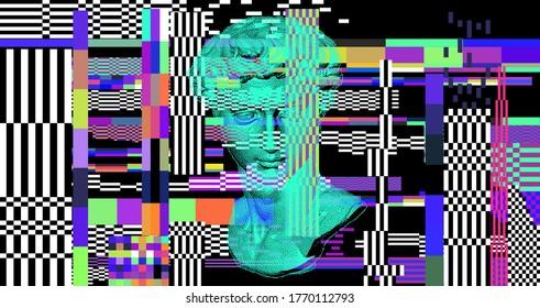 Pixel art 3D rendering of Michelangelo's David head. Retrofuturistic vector illustration in vaporwave and retrowave 80's aesthetics style.