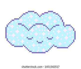 Pixel art 8 bit Cloud object. Pink fashion digital game. Pastel icons girly sticker. Vintage assets.