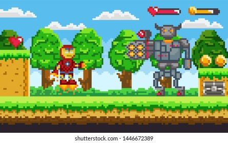 Pixel art 8 bit game ranger or robot and minotaur fighting. Old retro computer game or arcade characters, warriors, monsters with firearms vector. Platformer video-game. Pixelated app gemes