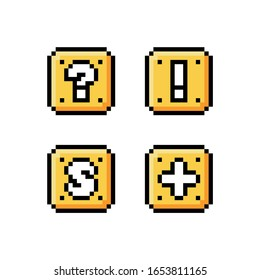 Pixel-Art-8-Bit-Icon-Set - Gelbe goldene Box mit Fragezeichen, Ausrufezeichen, Buchstaben S und Plus - einzelne Vektorillustration-Illustration, Spiel-Sprite-Objekt