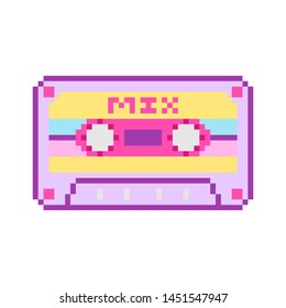 Pixel art 8 bit object cartoon cassette. Pink fashion digital game. Pastel icons girly sticker. Vintage assets.