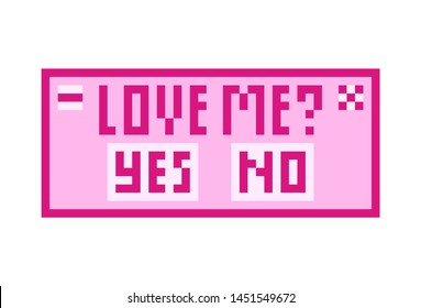 Pixel art 8 bit object. Computer window in love chat. Pink fashion digital game. Pastel icons girly sticker. Vintage assets.