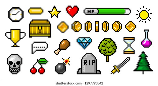 Pixel art 8 bit objects. Retro game assets. Set of icons. Vintage computer video arcades. Coins and Winner's trophy. Vector illustration.