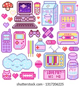 Pixel art 8 bit objects. Pink fashion digital game. Consoles Computer, Video arcades, cartoon cassette, Cream Milk, Cloud nostalgia, juice package. Set of pastel icons, girly stickers. Vintage assets.