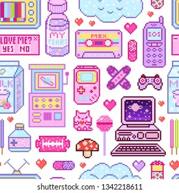 Pixel art 8 bit objects seamless pattern. Pink fashion digital game. Consoles Computer, Video arcades, cartoon cassette, Cream Milk, Cloud nostalgia, juice package. Pastel icons, girly stickers.
