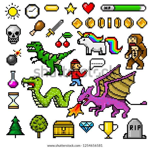 Image Vectorielle De Stock De Pixel Art Objets 8 Bits