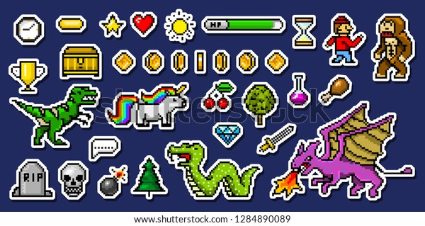 Pixel Art 8 Bit Objects Retro Stock Vector (Royalty Free