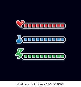 Pixel Art 8 Bit Retro-Design-Interface-Set für Spiele - rote Gesundheitsanzeige mit Herz, blaues Mana-Etikett mit Töpfchen und grüner Energieladeleiste - einzelne Artikel