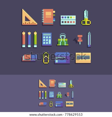 Pixel art 8 bit vector school supplies.