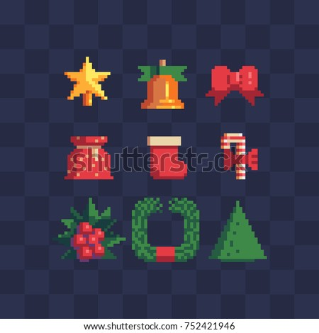 5859007f0df0 Pixel art 8-bit christmas icons set. Set of happy new year attributes.  Merry christmas greeting card design. Isolated vector illustration - Vector