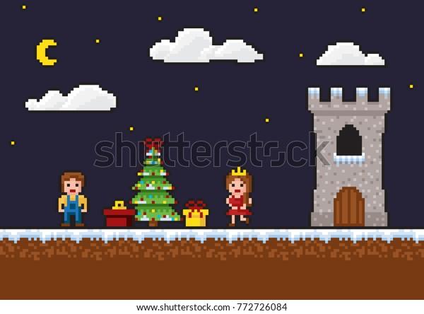 Pixel Art 8bit Game Scene New Stock Vector Royalty Free 772726084