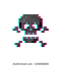 Pixel art 8-bit glitch skull with crossbones - isolated vector illustration