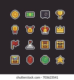 Pixel art 8bit icons with different rewards: coin, golden cup, crown, flag on top, gems and star