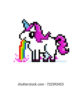 Pixel art 8bit illustration of a unicorn puking rainbow. Funny cute unicorn with pink hair. Girly sticker or print. Rainbow grouped separately, easily removable.