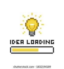 Pixel art 8-bit light bulb and idea loading yellow bar on white background - isolated editable vector illustration