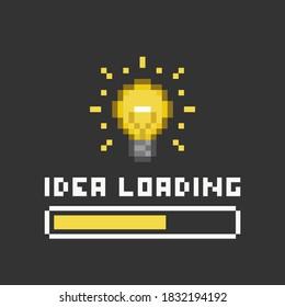 Pixel art 8-bit light bulb and idea loading yellow bar on black background - isolated editable vector illustration