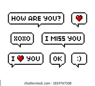Pixel art 8-bit Love phrases set with speech bubble. I love you, miss you, xoxo, smile, kiss. Relationship - isolated vector illustration