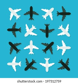 Pixel art 8-bit planes turned in different angles