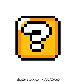 Pixel art 8-bit Question mark gold box - isolated vector illustration