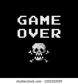 Pixel art 8-bit sign skull with crossbones and text game over - isolated vector illustration