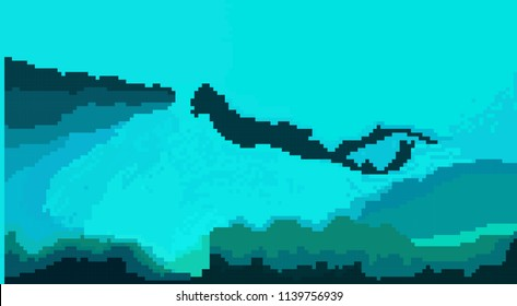 Pixel art. Abstract background: a diver floats on the bottom of the ocean. Vector illustration.