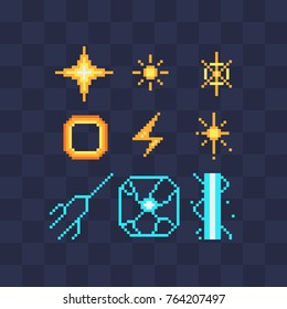 Pixel art abstract icons set. Fx light effects. Light symbols. Electric lightning bolt. Energy effect. Bright light flare and sparks Isolated vector illustration.