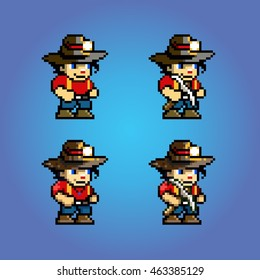 pixel art adventure game character, video game style layer vector illustration