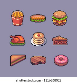 Pixel art american popular street food vector set.