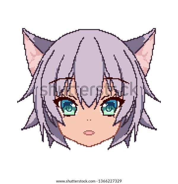 Pixel Art Anime Girl Face Smile Backgroundstextures