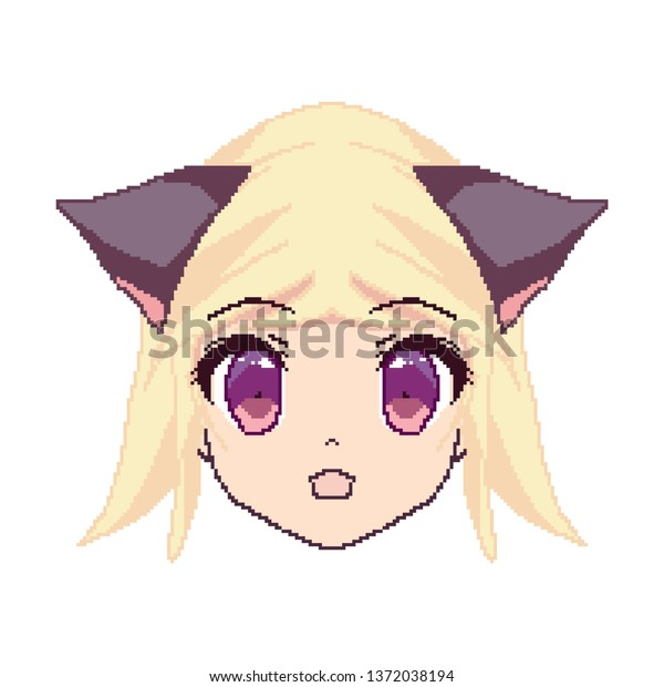 Pixel Art Anime Girl Face Boy Stock Vector Royalty Free