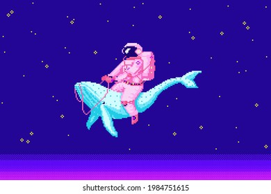 Pixel art astronaut. Spaceman 8 bit objects. Space art, digital icons. cosmonaut on a whale. Retro assets. Vintage game style. Set of characters. Vector illustration.