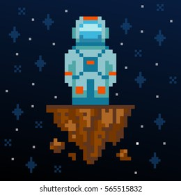 Pixel art. Astronaut stay on the asteroid. Vector illustration. Old arcade game design. Pixel game space level. Pixel personage. Space hero.